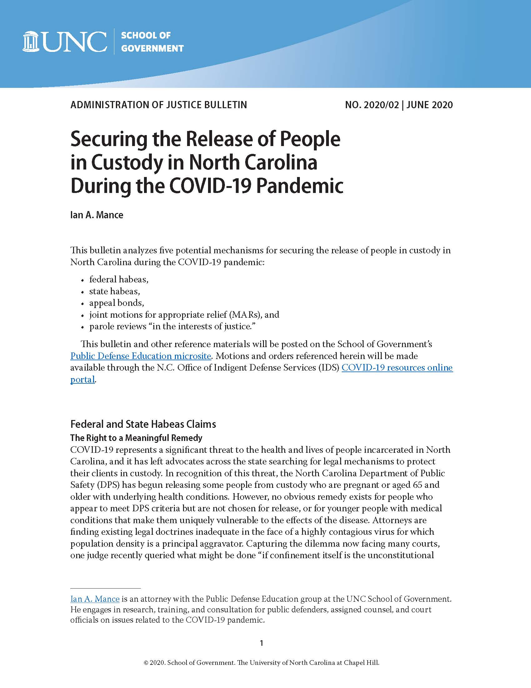 Securing The Release Of People In Custody In North Carolina During The Covid 19 Pandemic Unc School Of Government