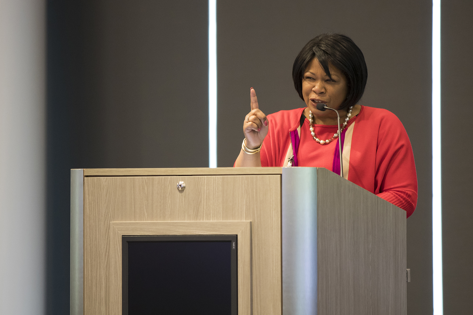 Anita Brown-Graham addresses workforce development professionals on May 16, 2018. (Photo by Adam Jennings | RTI International)