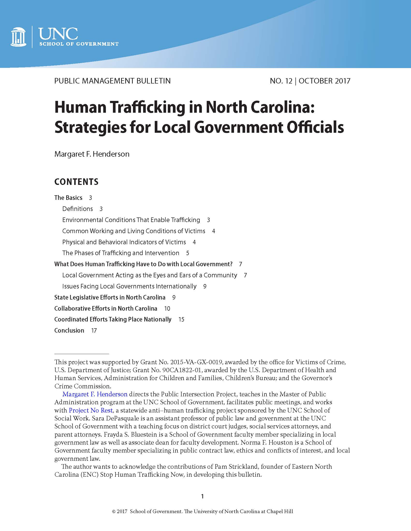 Cover image for Human Trafficking in North Carolina: Strategies for Local Government Officials