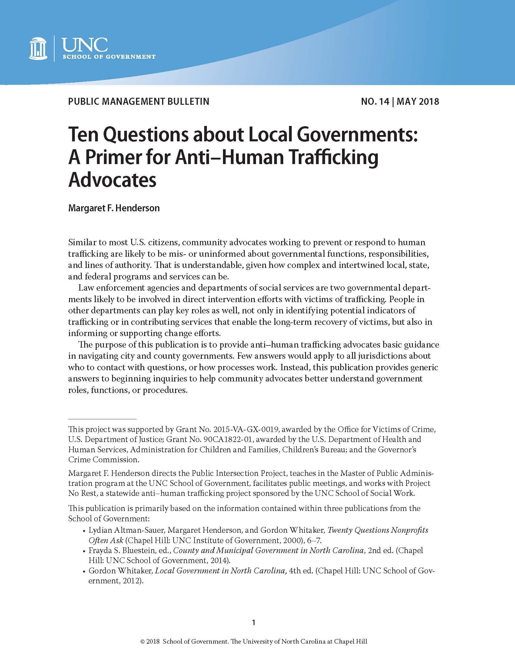 Cover image for Ten Questions about Local Governments: A Primer for Anti–Human Trafficking Advocates