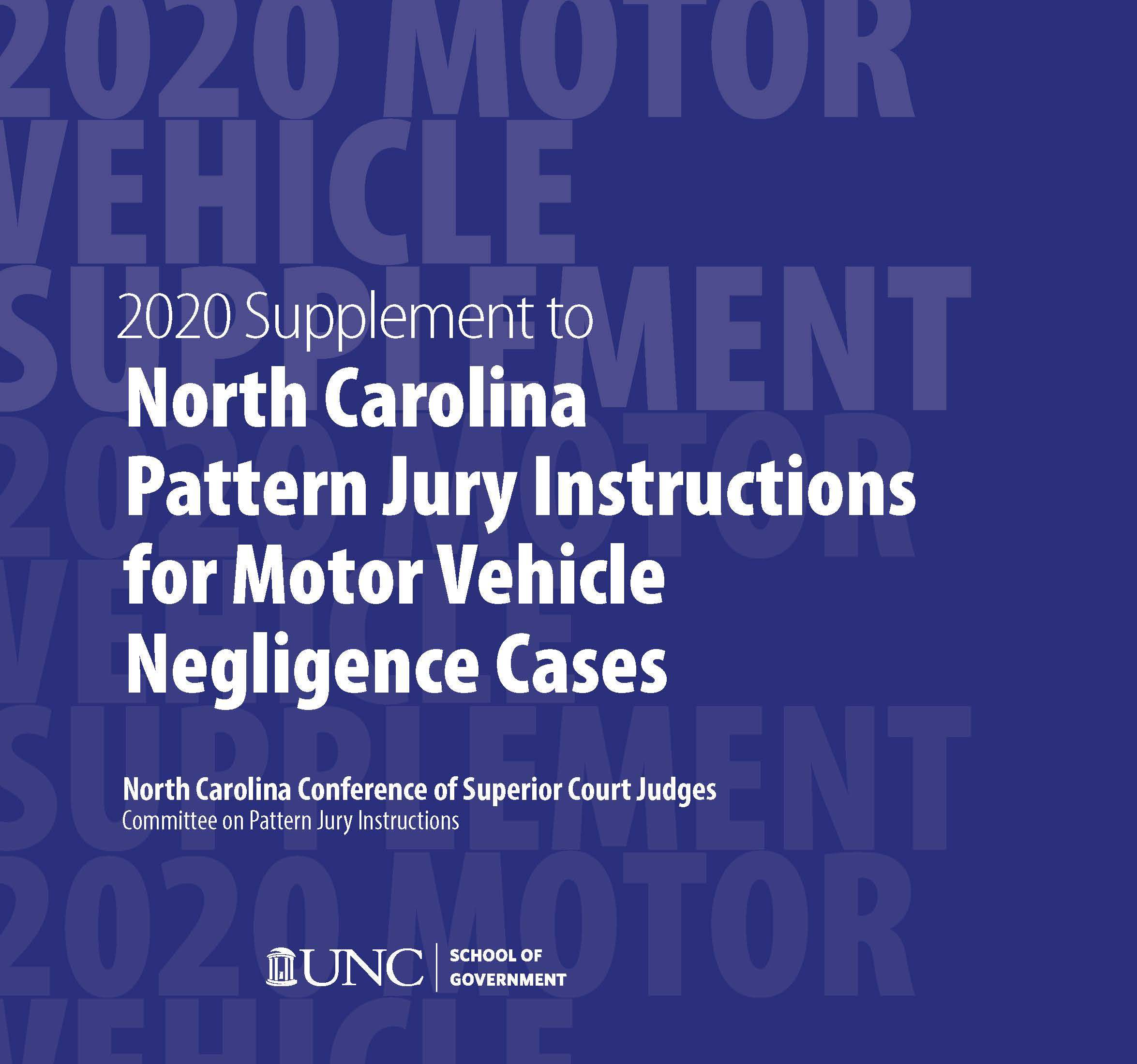 Cover of 2020 Supplement to Pattern Jury Motor Vehicle Cases