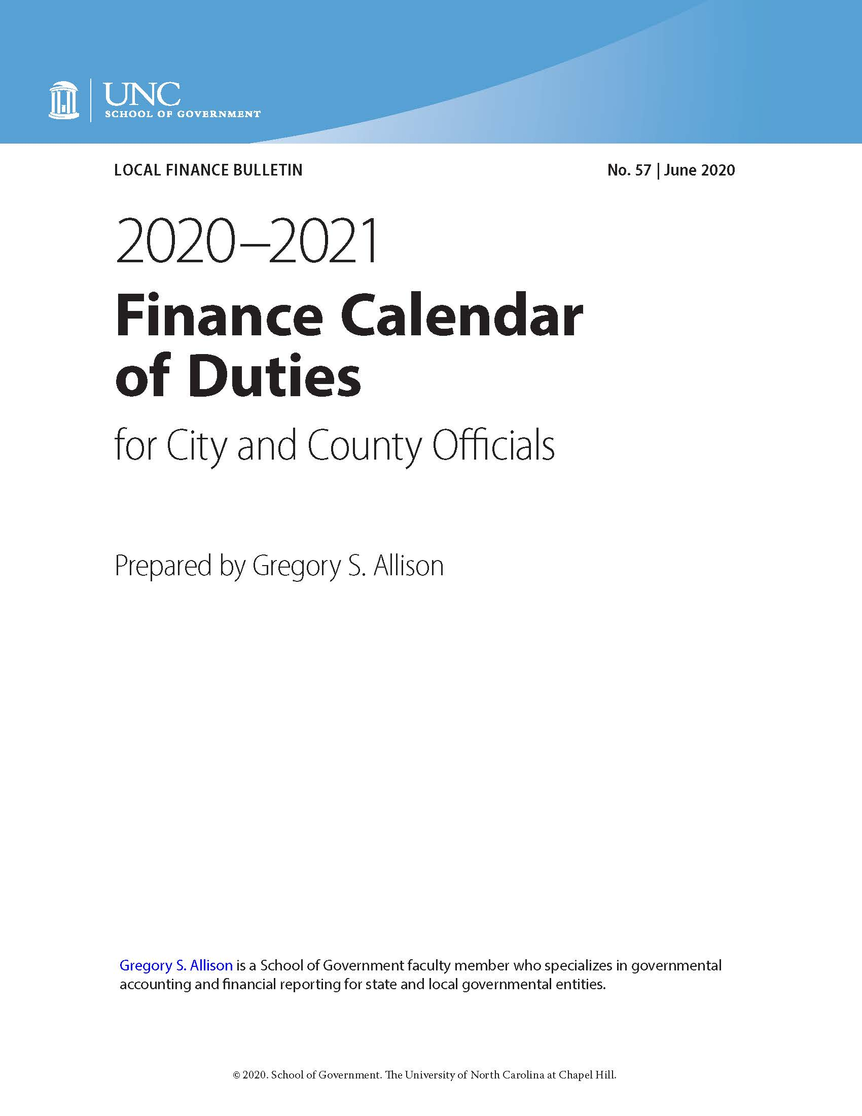 2020–21 Finance Calendar of Duties for City and County Officials