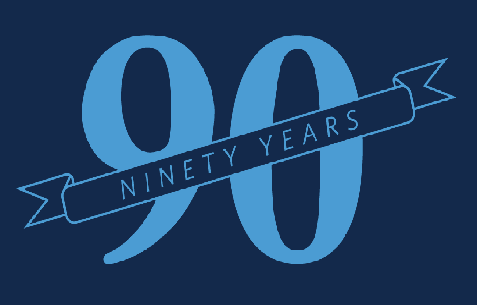 """The number 90 with a banner overlay reading """"anniversary"""""""