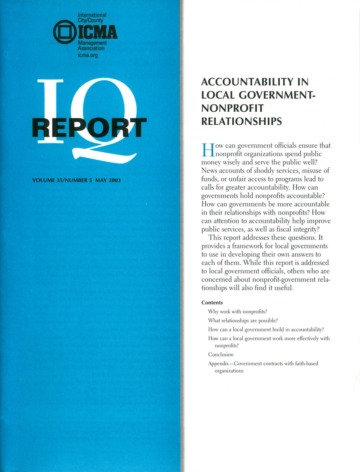 Cover image for Accountability in Local Government–Nonprofit Relationships