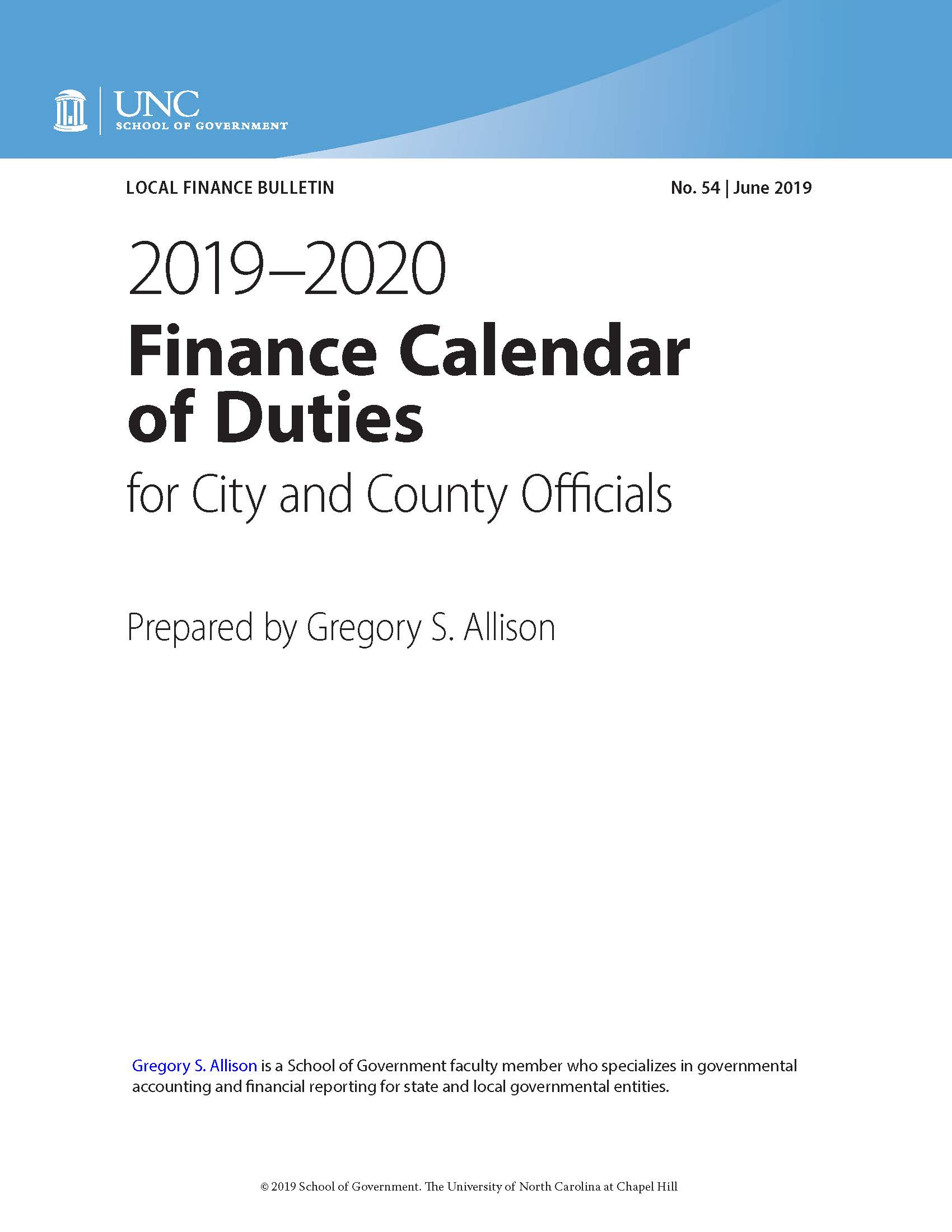Unc Calendar 2020 2019 2020 Finance Calendar of Duties for City and County Officials
