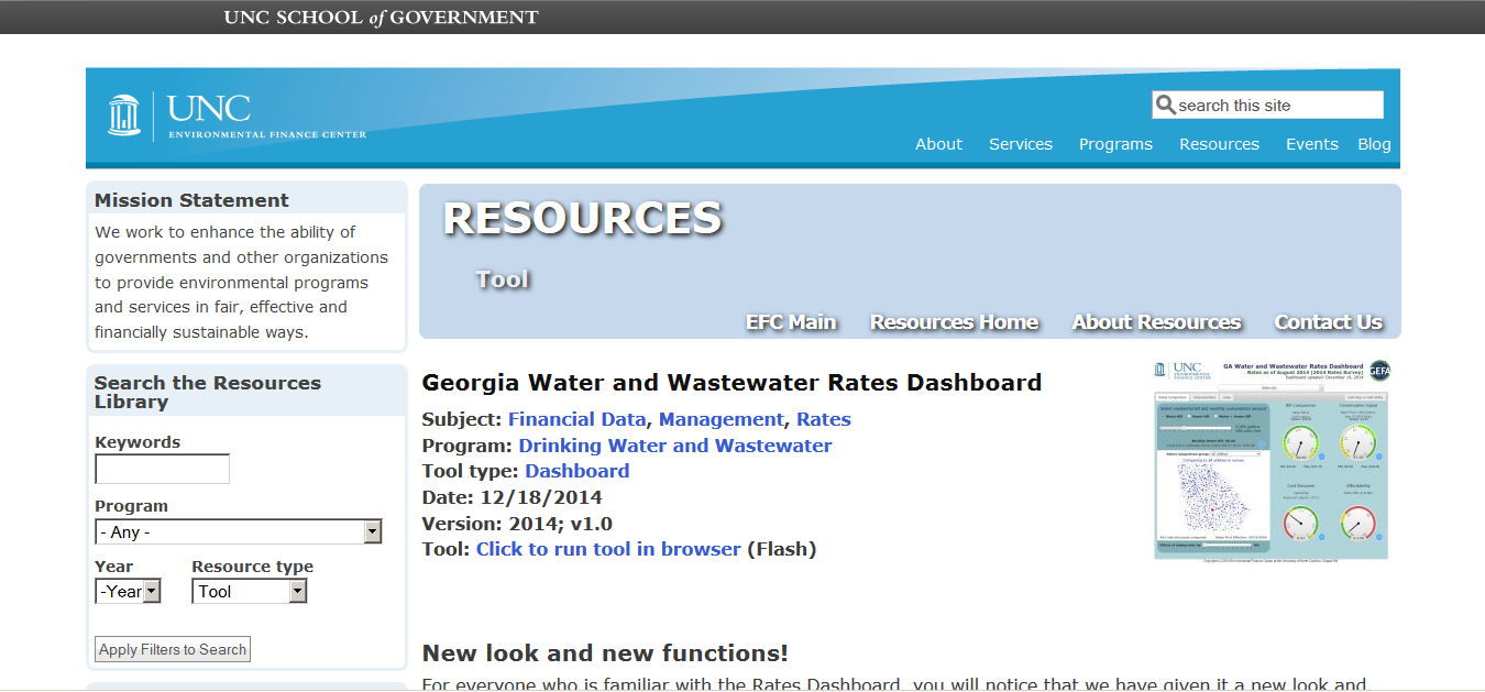 screenshot of Georgia Water and Wastewater Dashboard homepage