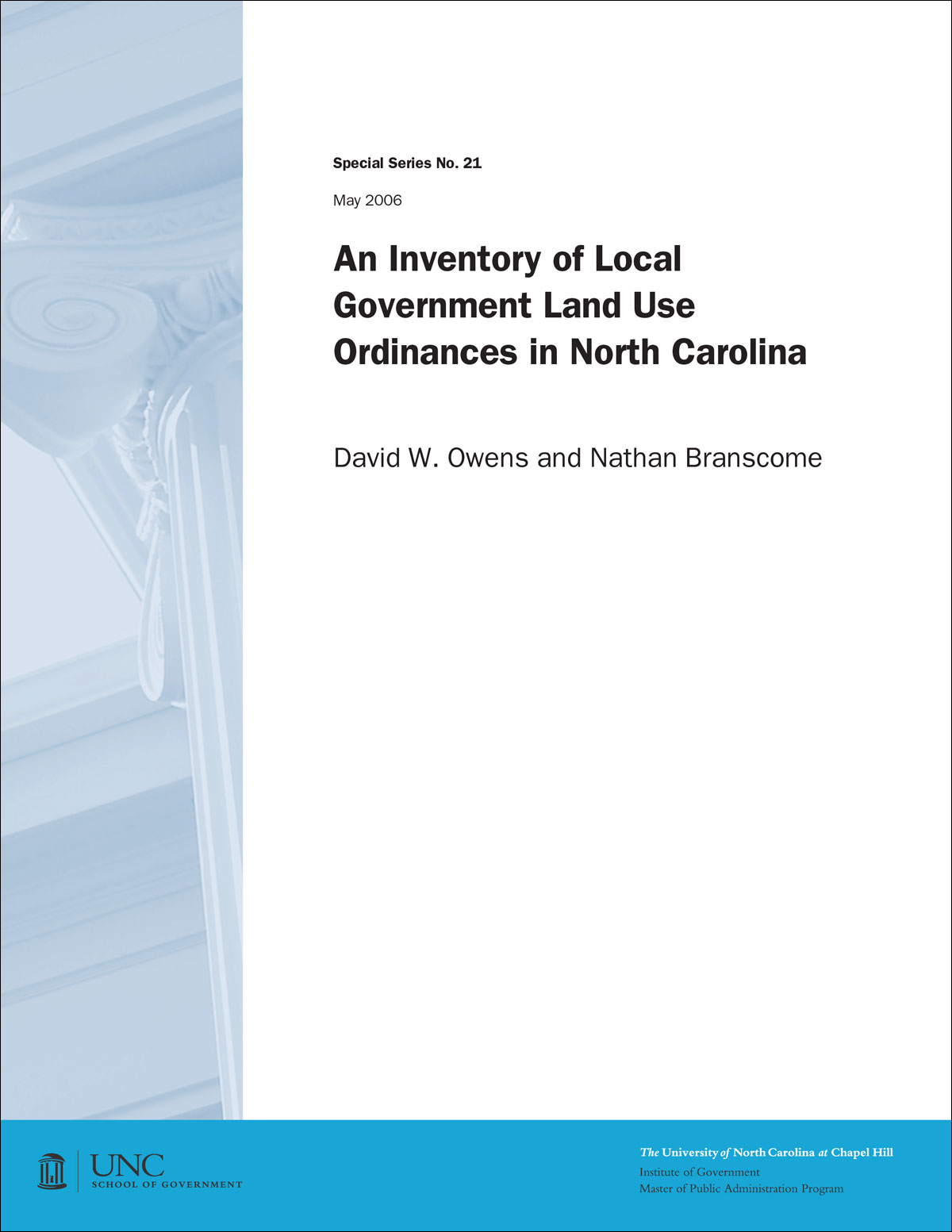 Cover image for An Inventory of Local Government Land Use Ordinances in North Carolina