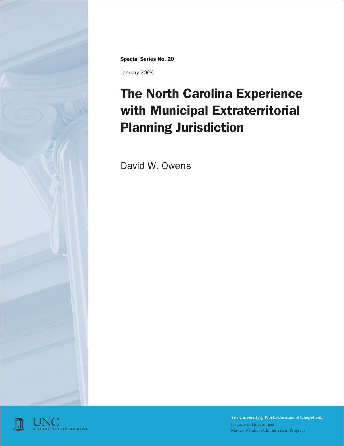 Cover image for North Carolina Experience with Municipal Extraterritorial Planning Jurisdiction