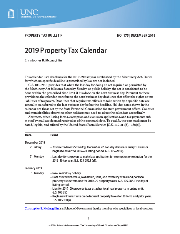 2019 Property Tax Calendar | UNC School of Government