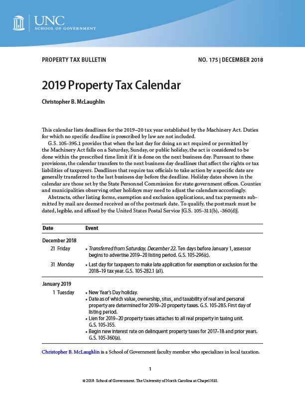 Unc Chapel Hill 2019 Calendar 2019 Property Tax Calendar | UNC School of Government