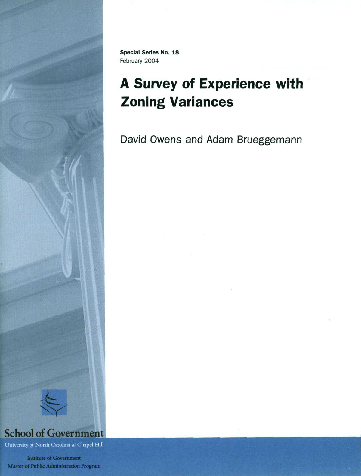 Cover image for Survey of Experience with Zoning Variances