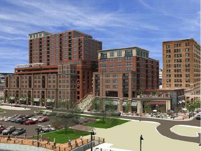 Water Street Parking Deck proposed massing illustration
