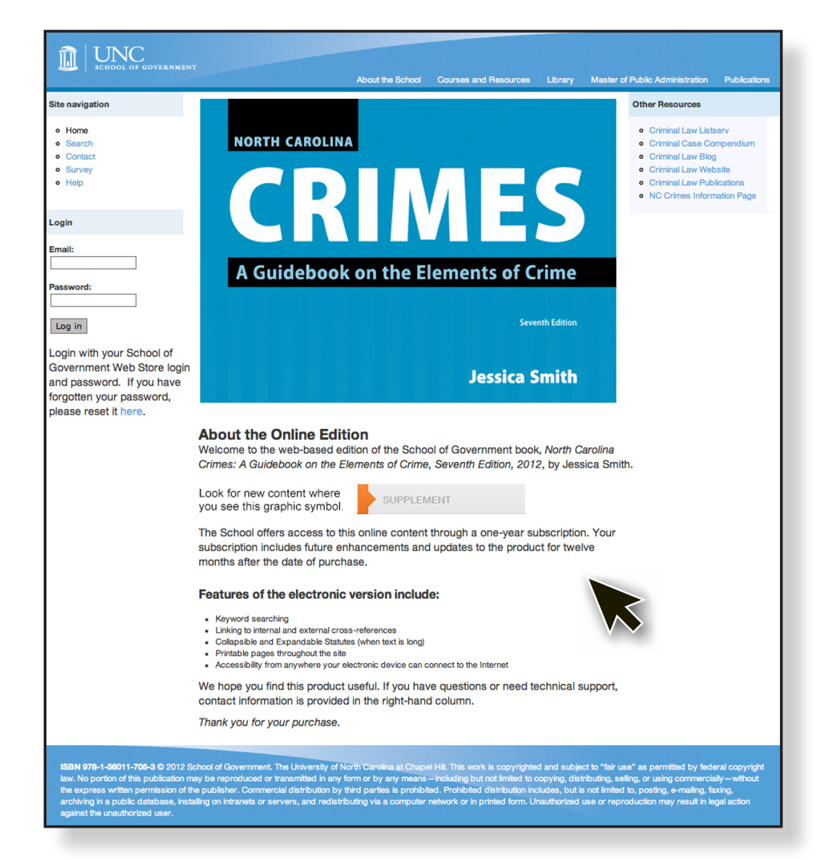 Cover image for NC Crimes, Seventh Edition, 2012: Online Subscription