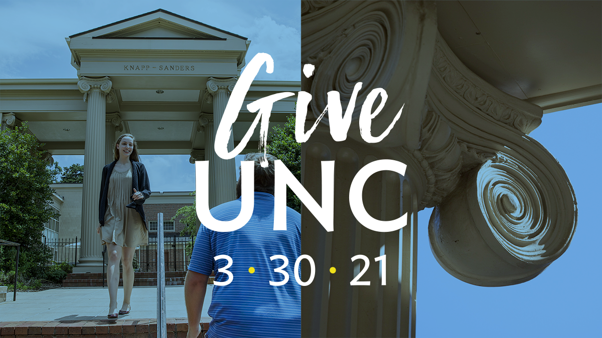 """Left shows a man and a woman greeting each other in front of the Knapp-Sanders building, right is the column scrolls on the Knapp-Sanders building. Text overlay reads """"GiveUNC, March 30, 20201"""""""