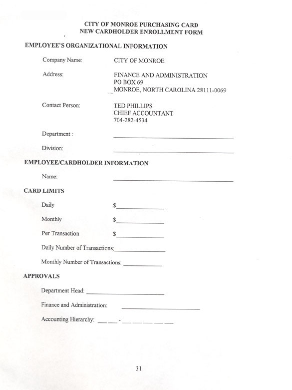 Cardholder Agreement · Enrollment Form ...  Enrollment Form Format