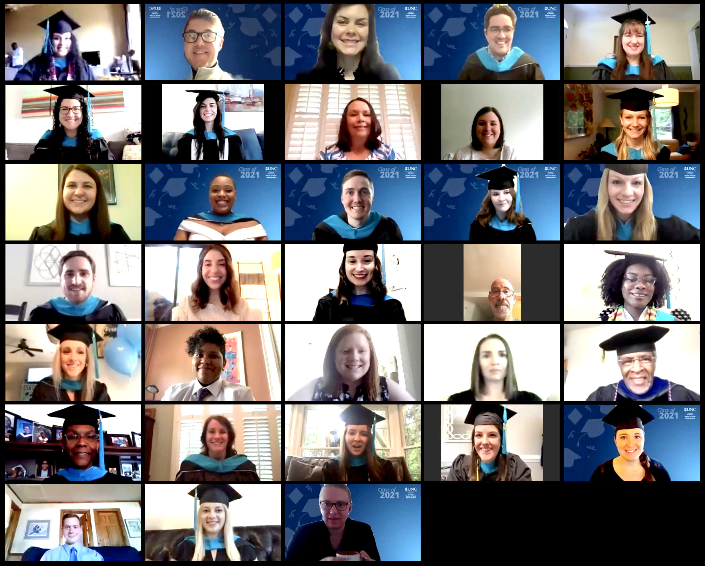 UNC MPA graduates in an online ceremony