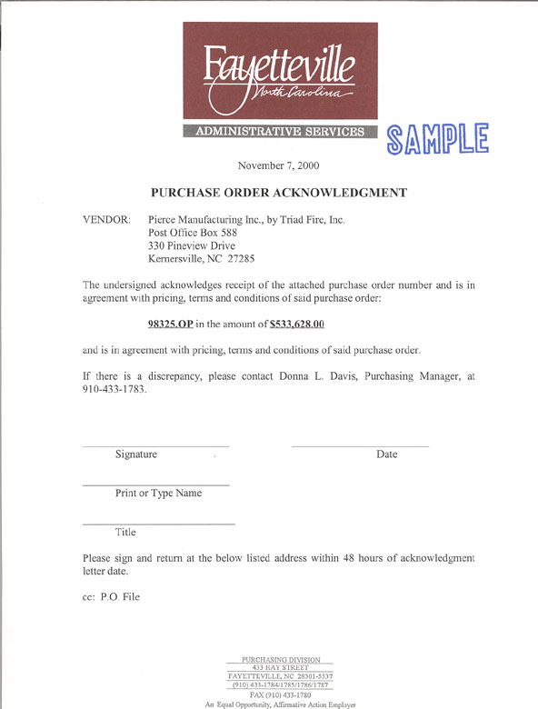 ... Purchase Order Acknowledgment Form ...  Purchase Order For Services Template