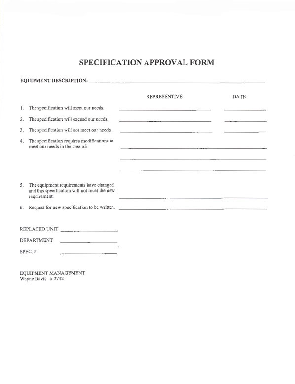 Sample Purchasing Forms