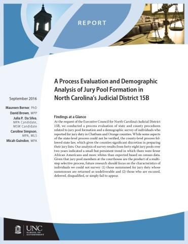Process Evaluation and Demographic Analysis of Jury Pool Formation in North Carolina's Judicial District 15B