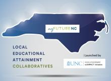 """An outline of the state of North Carolina. Text reads """"myFutureNC Local Educational Attainment Collaboratives launched by the UNC School of Government ncIMPACT Initiative."""""""