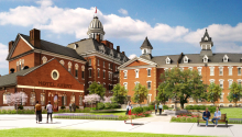 A rendering shows a remodeled brick building on the Broughton Hospital campus with people strolling the grounds.