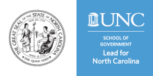 The state seal of North Carolina and the Lead for North Carolina logo
