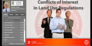 This module covers the legal standards on conflicts of interest for those making decisions for land use and development regulations. It reviews the types of conflicts that arise, the rules that determine how conflicts are addressed for differing types of