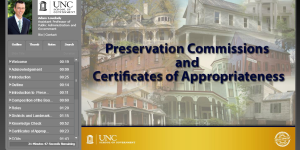 This module addresses the authority for local historic preservation regulations. Viewers will learn about the roles and responsibilities of preservation commissions, designation of local historic districts and landmarks, and the process and standards for